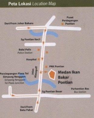 Peta Lokasi Medan Ikan Bakar Pontian, Klik Untuk Besarkan Imej