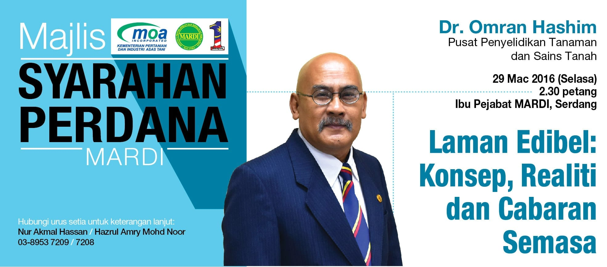 Banner Syarahan Perdana MARDI - Dr. Omran Hashim
